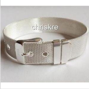 Silver Belt Buckle Bracelet Mesh Country Western